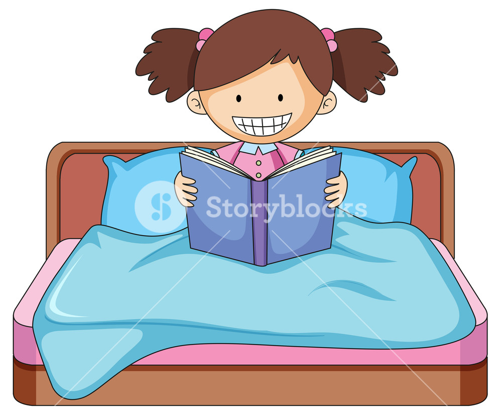 Reading a book on the bed clipart banner freeuse library A girl reading book in bed Royalty-Free Stock Image ... banner freeuse library