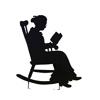 Reading books in rocking chair for kids clipart png black and white stock Collections Etc Charming Rocking Chair Shadow Figure Yard Stakes, Grandma png black and white stock