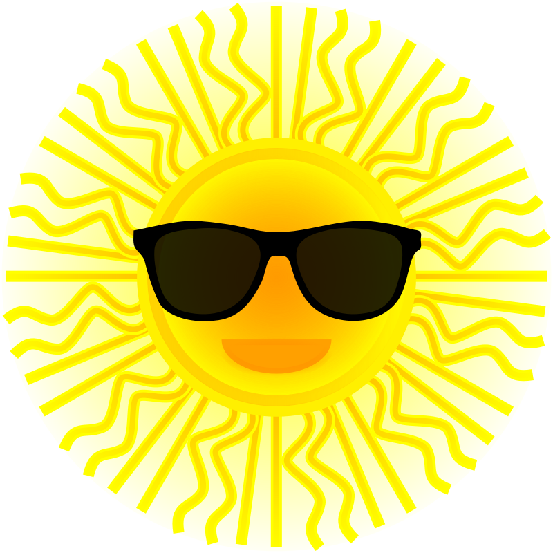 Sun reading clipart jpg black and white library Clipart - Sun with sunglasses jpg black and white library