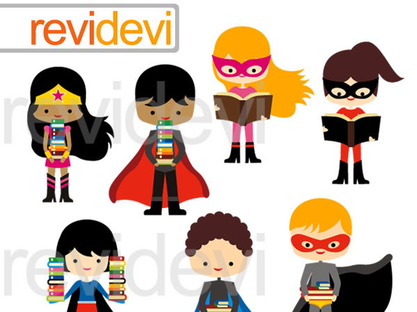 Super heros reading clipart stock Superhero with books Clipart Graphcis stock