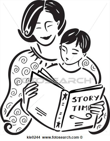 Story Clipart Black And White. Parent Reading Clipart - 470 ... svg transparent download
