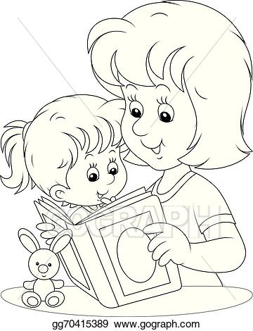 EPS Vector - Mother and daughter reading. Stock Clipart ... jpg freeuse