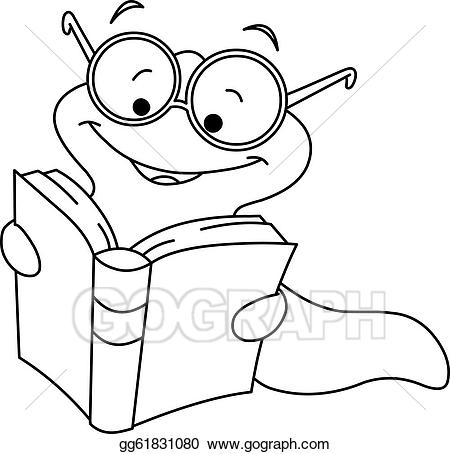 Reading worm clipart svg black and white library Vector Art - Outlined book worm. Clipart Drawing gg61831080 ... svg black and white library