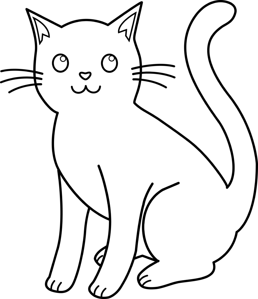 Cat line clipart jpg royalty free library White Cat Drawing - ClipArt Best jpg royalty free library