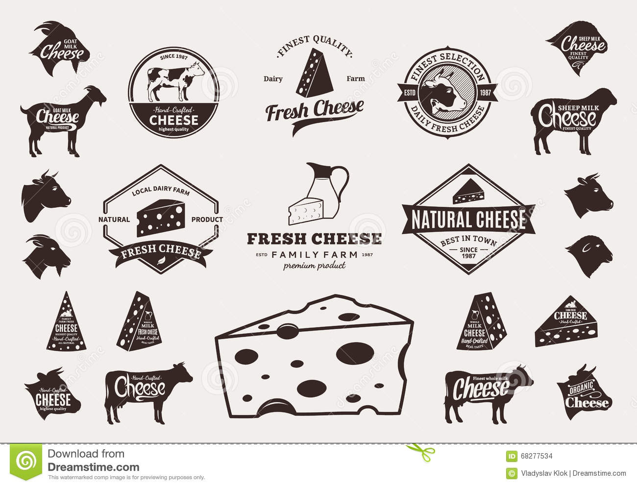 Real cheese logo clipart image royalty free Set Of Vector Cheese Logo, Icons And Design Elements Stock Vector ... image royalty free