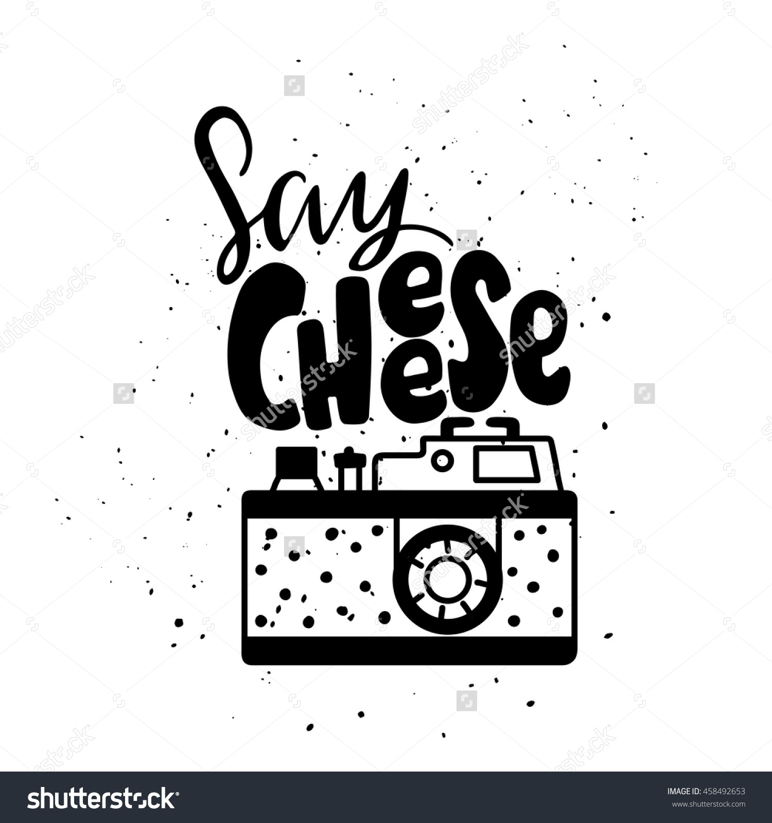 Real cheese logo clipart jpg library library Vector Illustration With Photo Camera Logo. Lettering. Say Cheese ... jpg library library
