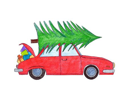 Real christmas tree on top of car clipart clip free download Red Car With Christmas Tree ON Top premium clipart ... clip free download