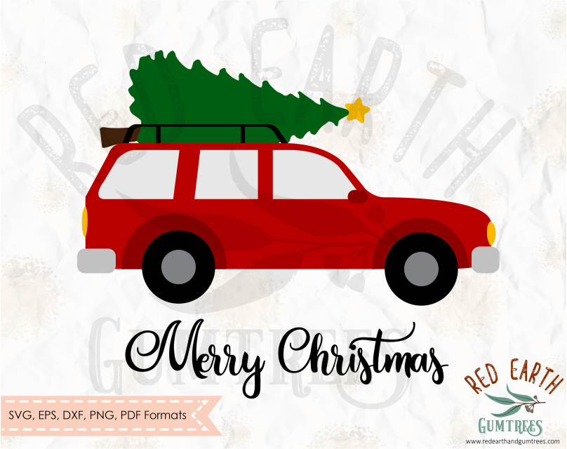 Real christmas tree on top of car clipart clip royalty free Christmas/ New year clip royalty free