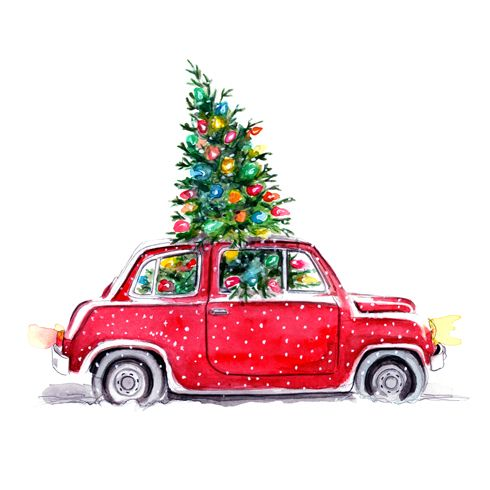 Real christmas tree on top of car clipart vector free library Christmas Illustration by Tracy Hetzel   ILUSTRATIONS ... vector free library