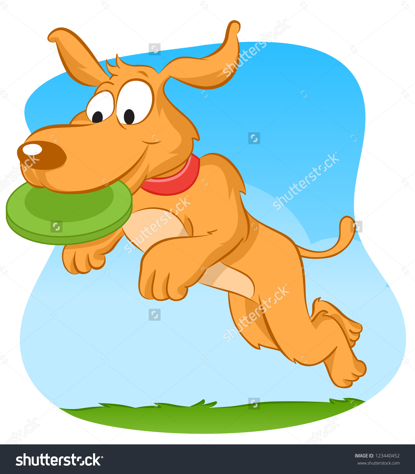 Real dog jumping clipart png freeuse stock Dog Jumping Catching Green Frisbee Stock Vector 123440452 ... png freeuse stock
