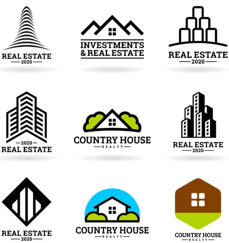 Real estate logo clipart vector black and white stock Real Estate Logotypes 13 | AI format free vector download ... vector black and white stock