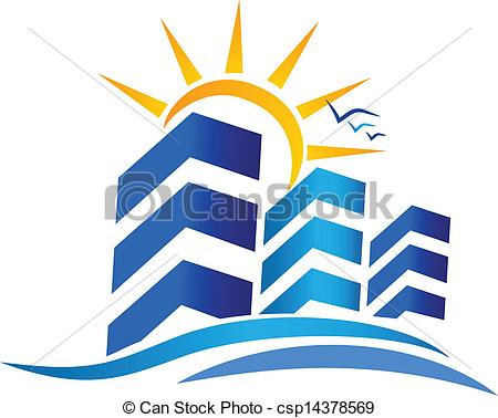 Real estate logo clipart download Clip Art Vector of Apartments and sun Real Estate logo ... download