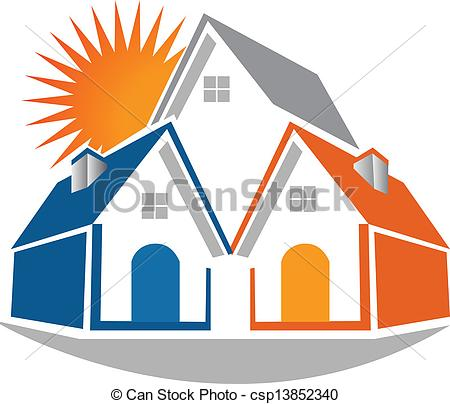 Real estate logo clipart graphic freeuse download EPS Vector of Houses real estate logo - Houses with sun real ... graphic freeuse download