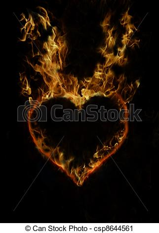 Real fire clipart vector transparent library Clipart of fire heart - burning heart with real fire csp8644561 ... vector transparent library