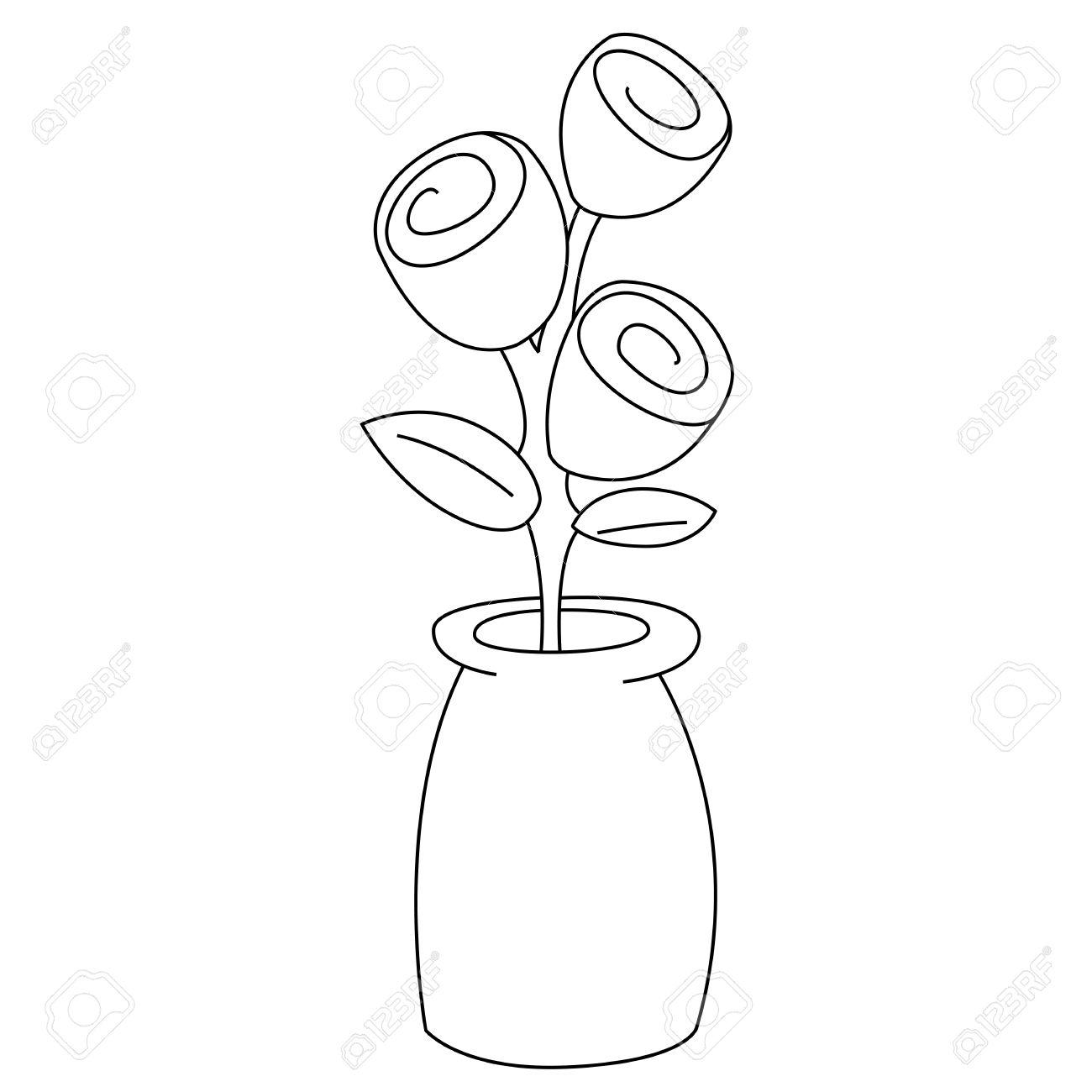 Real white vase clipart jpg transparent Black Outline Vector Flowers In Vase On White Background. Royalty ... jpg transparent
