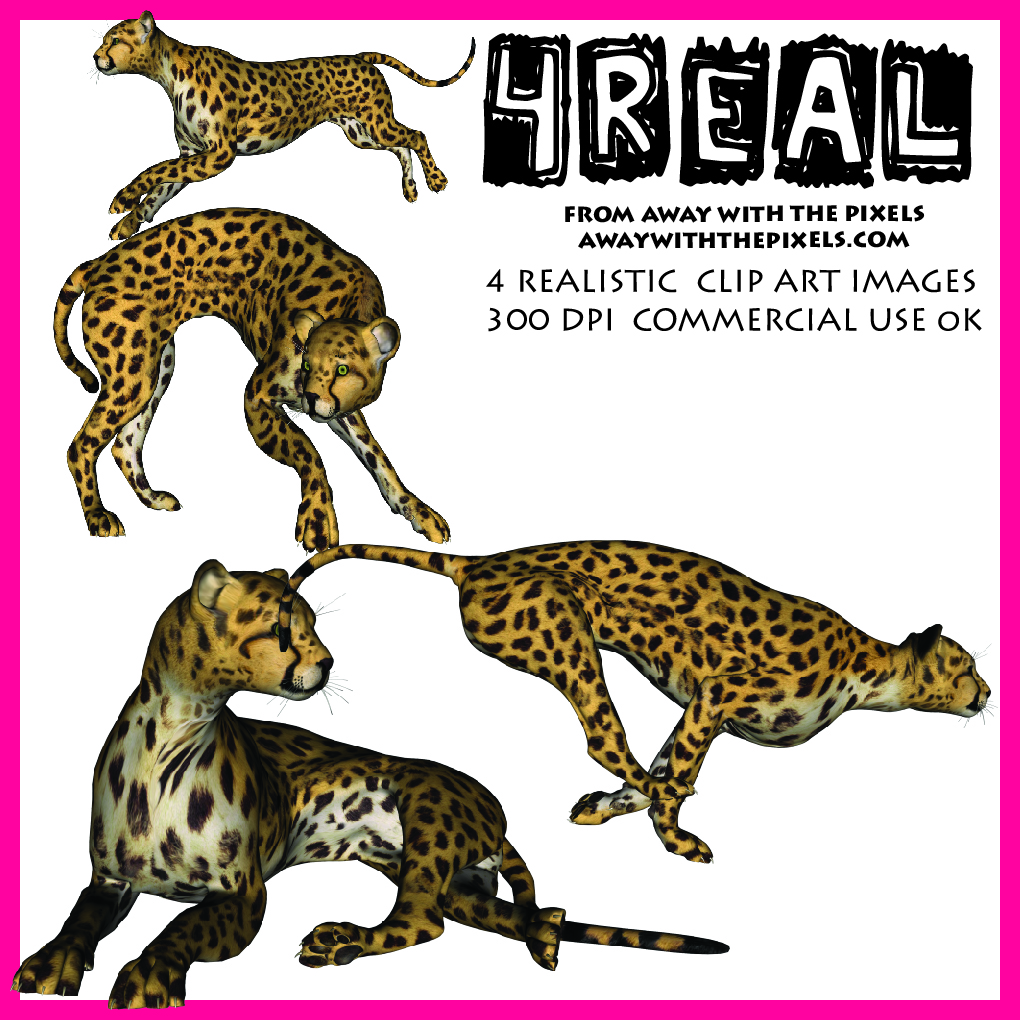 Realistic animal clipart svg black and white library Cheetah Clipart - Realistic Animal Clipart for Teachers svg black and white library