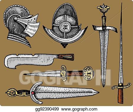 Vector Clipart - Medieval symbols, helmet and swords, knife ... clip free