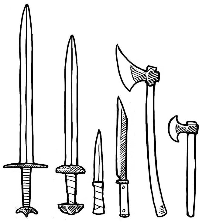 Viking weapons (realistic) swords, knife, Seax, battle axe ... svg library library