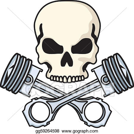 Rebelling clipart picture royalty free library Vector Illustration - Skull and pistons. Stock Clip Art ... picture royalty free library