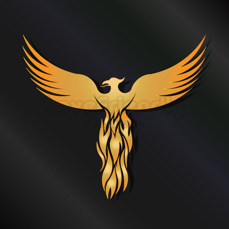 Clipart Gold Phoenix Bird. Concept of cyclically regenerated ... vector library stock