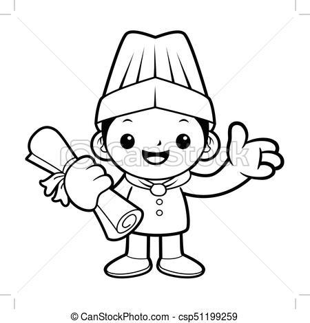 Recibir clipart svg freeuse certificado, recibir, aislado, ilustración, fondo., mascota, vector, negro,  cocinero, blanco, completion., feliz svg freeuse