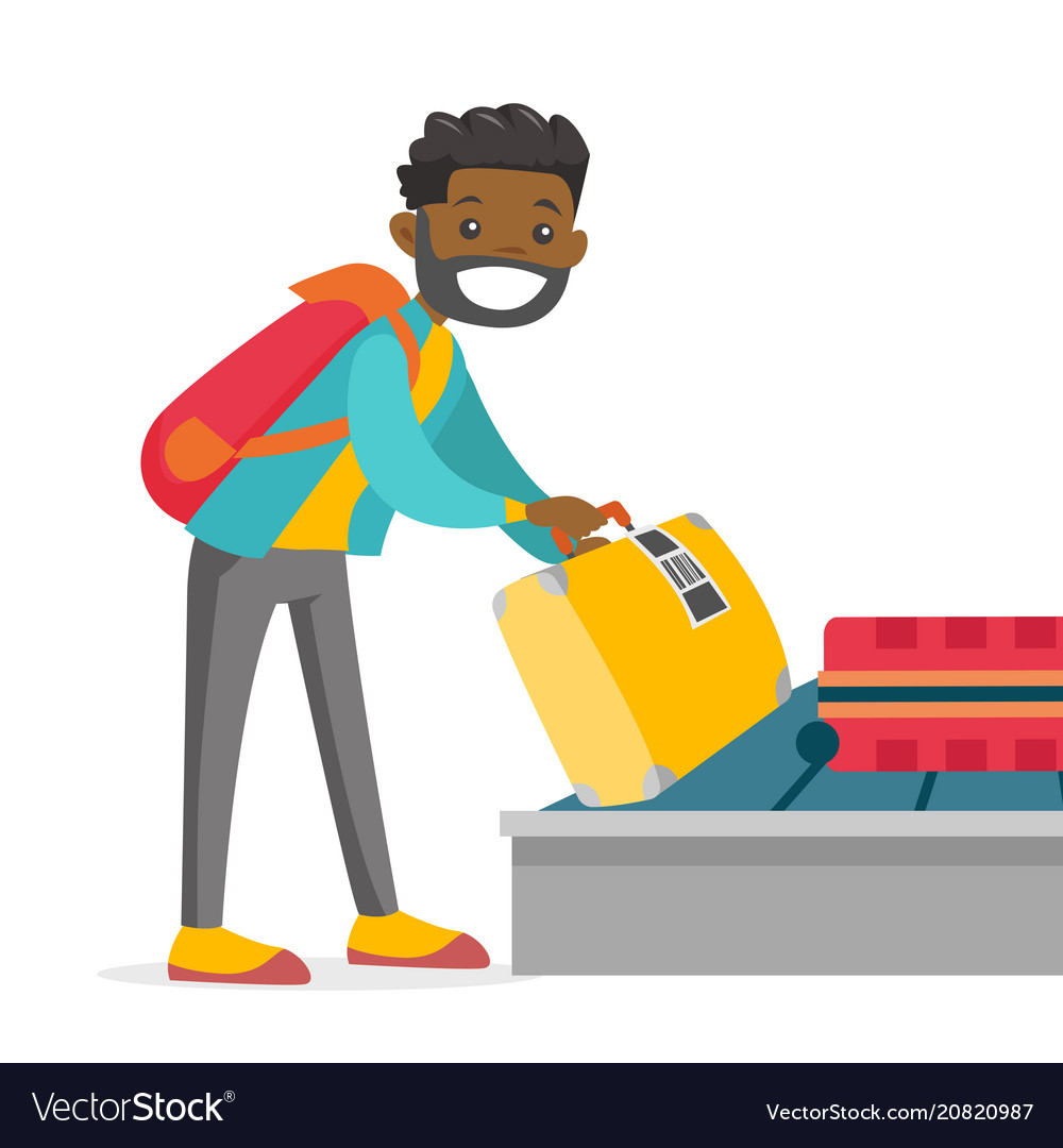 Reclaim clipart banner library stock A man taking his case in baggage claim of the vector image banner library stock