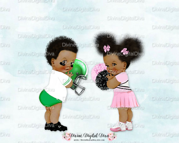 Recolor the skin tone in clipart image jpg transparent Vintage Baby Football & Cheerleader Dark by ... jpg transparent