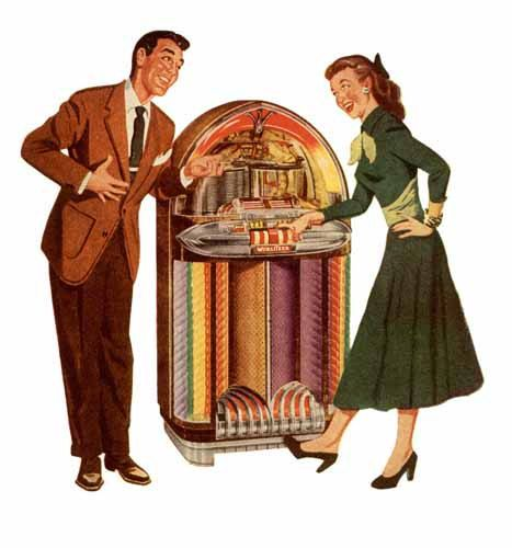 Record player and juke box clipart 50 s vector transparent Digital Image - 1940\'s-50\'s Era Jukebox -Colorful Record ... vector transparent