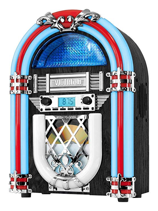 Record player and juke box clipart 50 s banner black and white stock Victrola Retro Desktop Jukebox with CD Player, FM Radio, Bluetooth, and  Color Changing LED Lights, 15-Inch Tall (Renewed) banner black and white stock