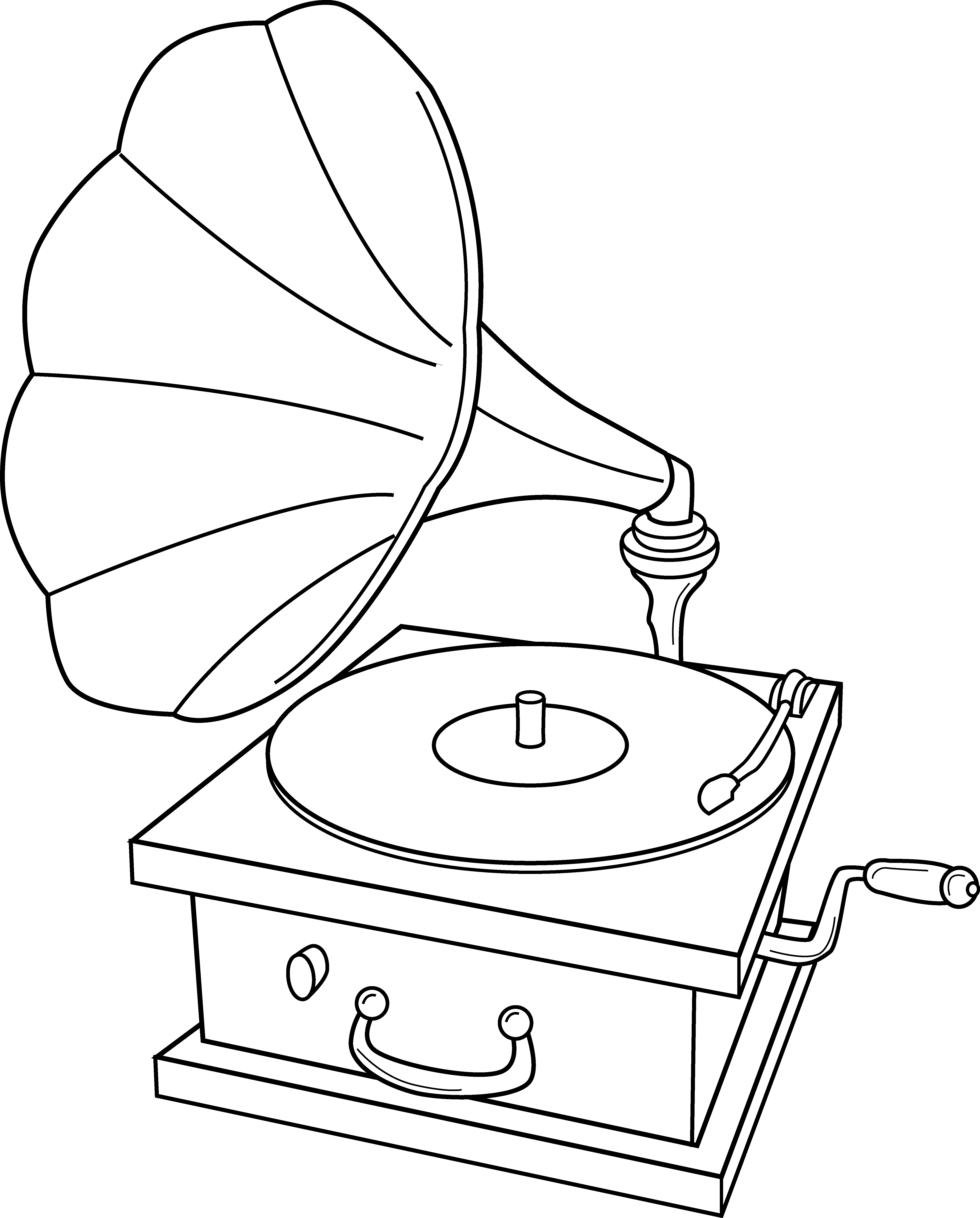 Record player clipart free vector black and white Record Player Coloring Page - Free Clip Art vector black and white
