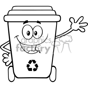 Recycle bin clipart black and white graphic stock Black And White Happy Recycle Bin Cartoon Mascot Character Waving For  Greeting Vector clipart. Royalty-free clipart # 402912 graphic stock