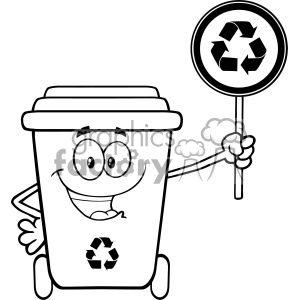 Recycle bin clipart black and white clipart library stock Black And White Cute Recycle Bin Cartoon Mascot Character Holding A Recycle  Sign Vector clipart. Royalty-free clipart # 402950 clipart library stock