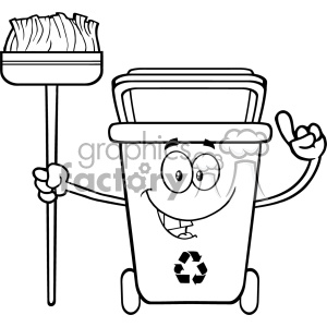 Recycle bin clipart black and white clip art free library Talking Black And White Recycle Bin Cartoon Mascot Character Pointing To A  Open Lid Vector clipart. Royalty-free clipart # 402900 clip art free library