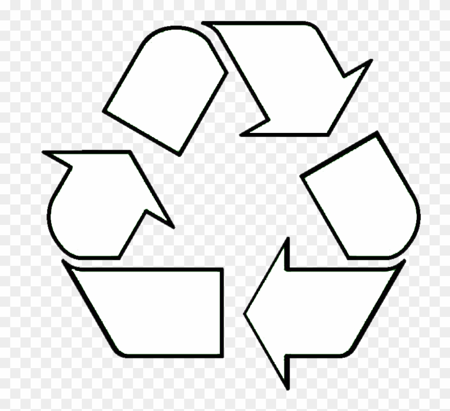 Recycle symbol clipart black and white