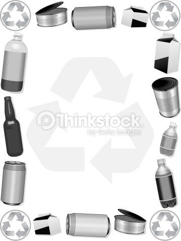 Recycling borders clip art graphic black and white download Border Recycling Montage Grayscale Vector Art | Thinkstock graphic black and white download