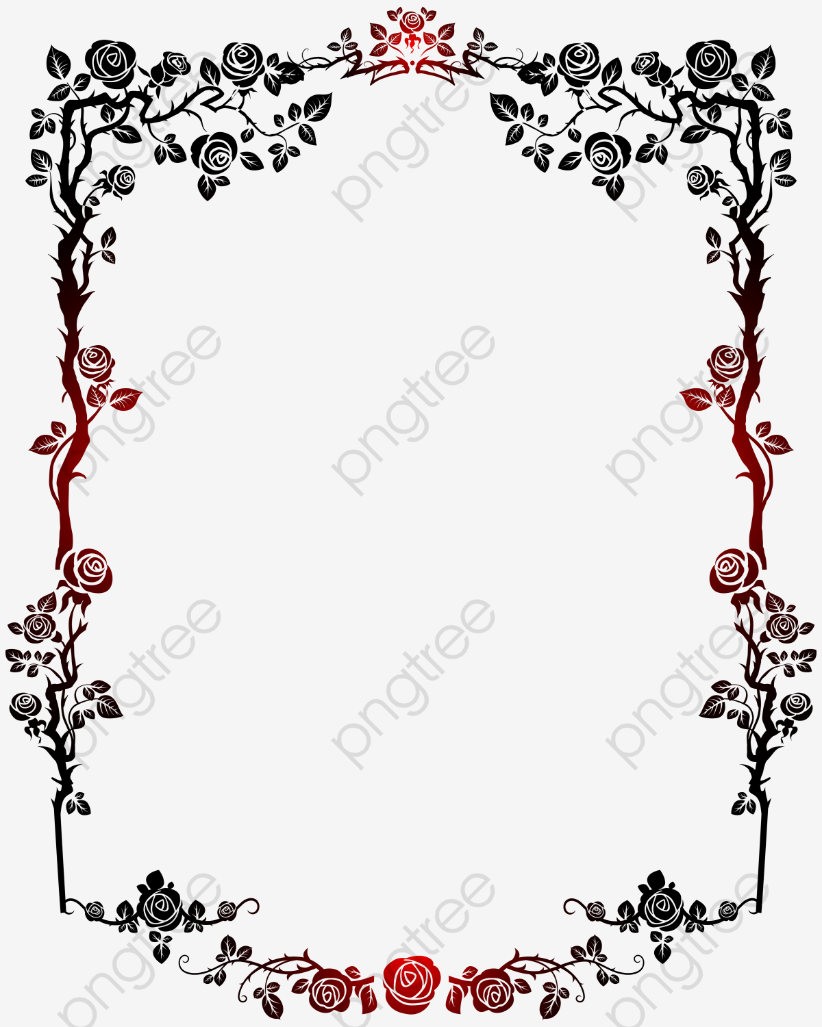 Red and black clipart clip art free download Red And Black Gradient Roses French Border, French Clipart ... clip art free download