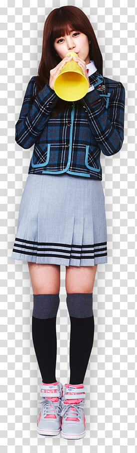 Red and black plaid skirt stock clipart black and white download Apink for Skoolooks HD, woman wearing blue button-up coat ... black and white download