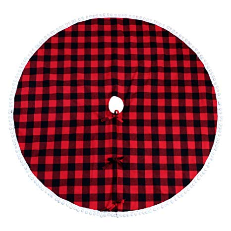 Red and black plaid skirt stock clipart clip freeuse Aytai Buffalo Plaid Christmas Tree Skirt 48 Inch Red and Black Xmas Tree  Skirts with Pom Pom for Christmas Decorations clip freeuse