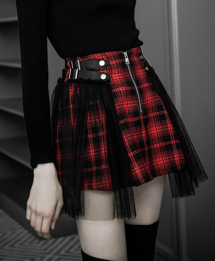 Red and black plaid skirt stock clipart graphic black and white \'Crimson Cadaver\' Red and black plaid skirt with mesh overlay size M-4XL graphic black and white