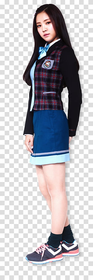 Red and black plaid skirt stock clipart png Apink for Skoolooks HD, woman wearing blue button-up coat ... png