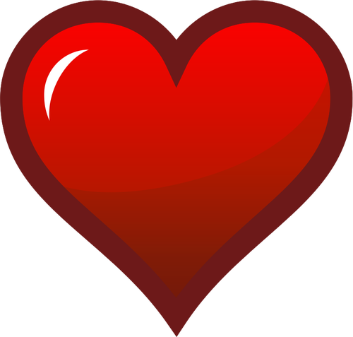 Red and brown heart clipart png freeuse download Red heart with thick brown border vector drawing   Public ... png freeuse download