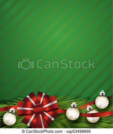 Red Christmas Holiday Bow and Silver Ornaments Background Illustration vector free