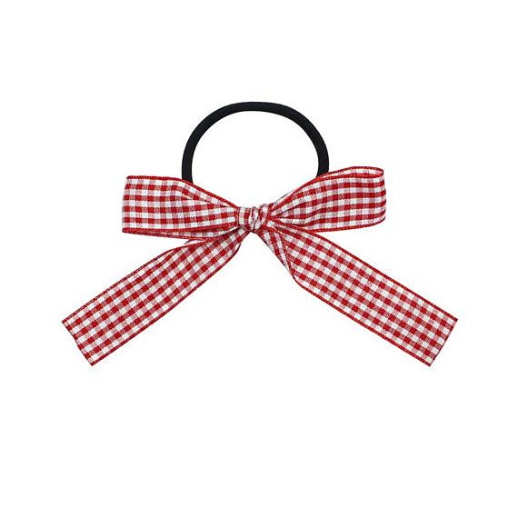 School-Girl Ribbon Red Gingham Bow Hair Ties/ Ponytail ... clip art black and white