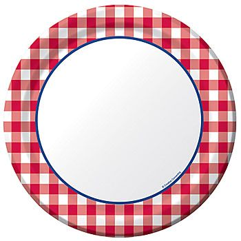 Gingham Luncheon Plates: white center with navy blue border ... graphic free