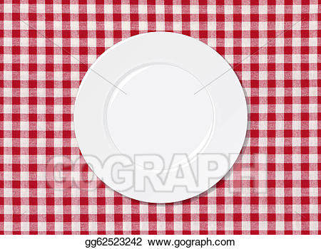 Stock Illustration - White plate on red and white striped ... graphic royalty free