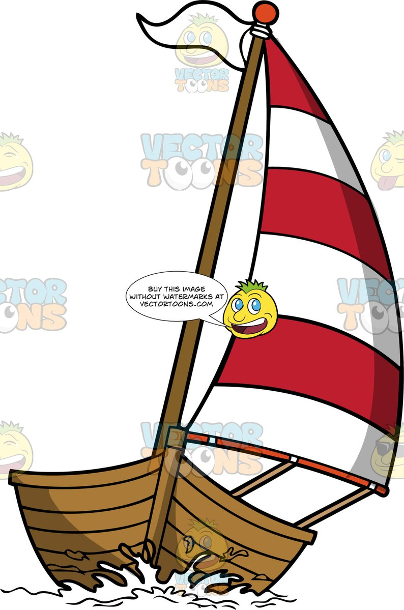 Red and white striped pole cartoon clipart image black and white download Wooden Sailboat With A Red and White Sail image black and white download