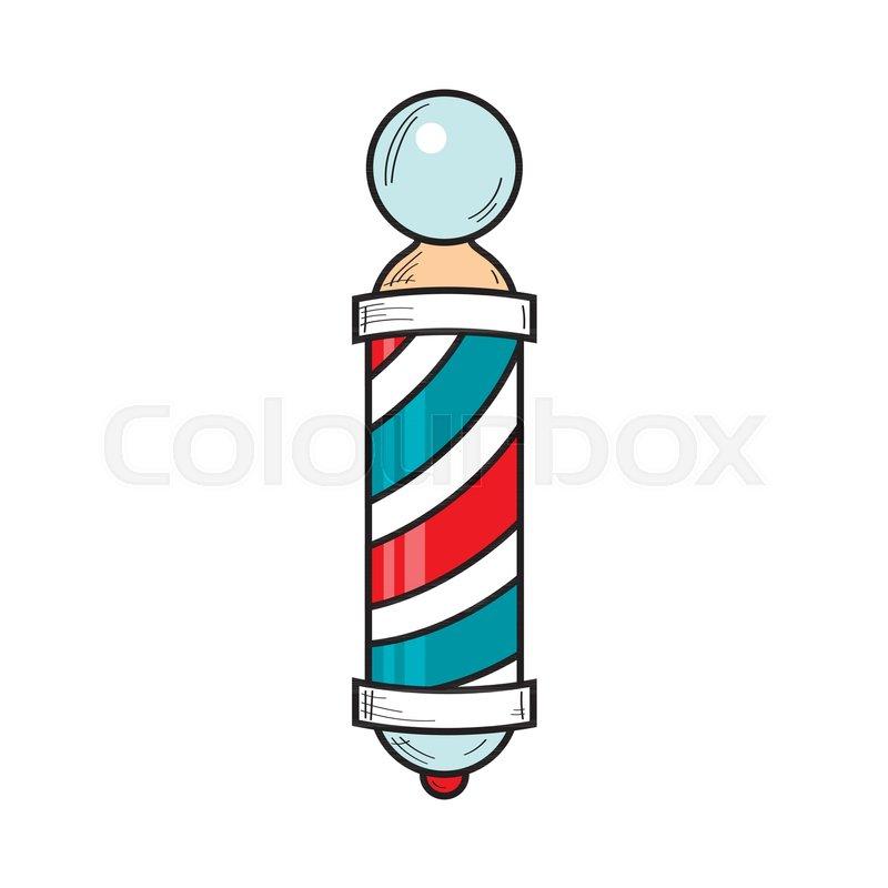 Red and white striped pole cartoon clipart svg transparent download Hand-drawn retro style barber pole, ...   Stock vector ... svg transparent download