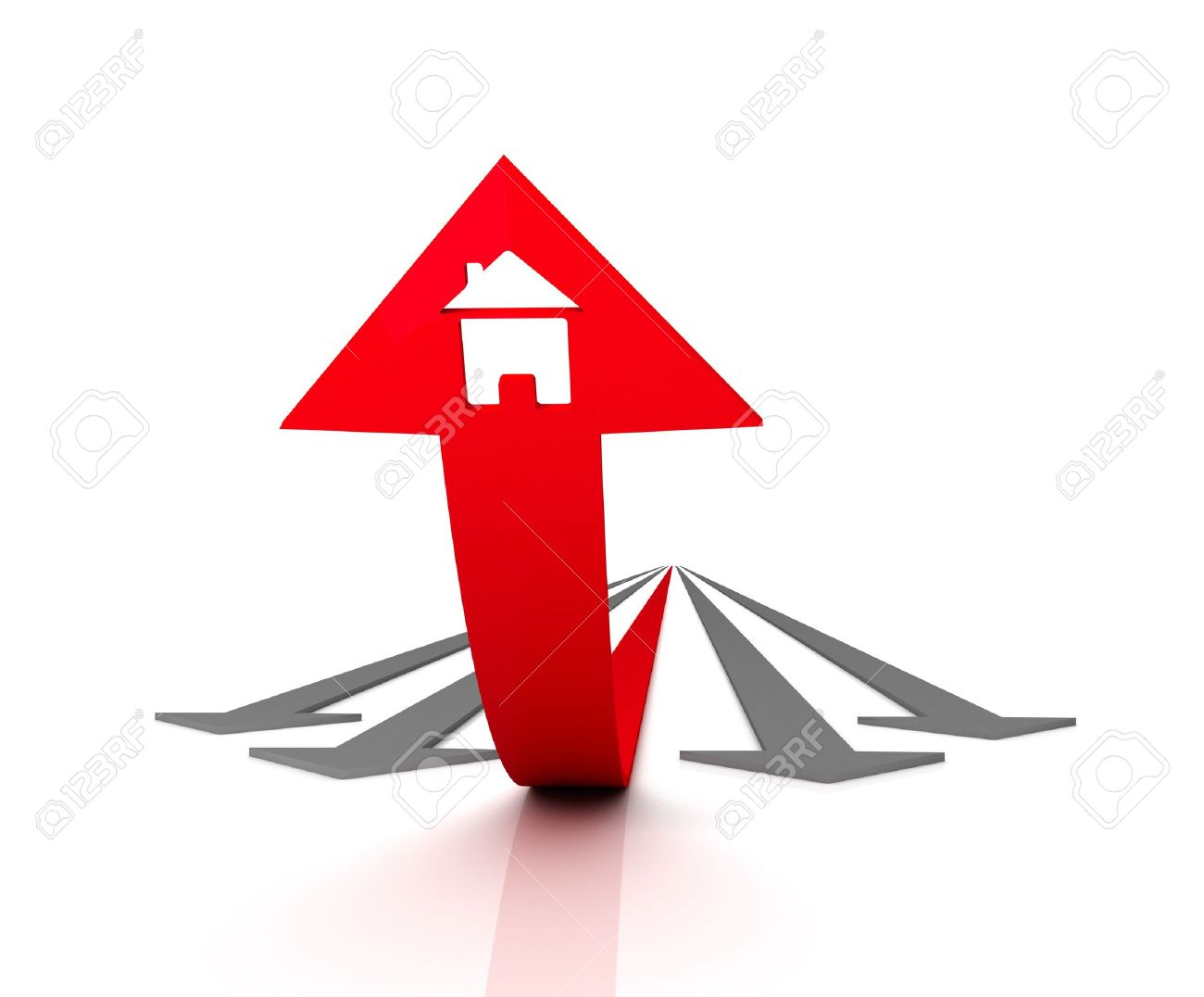 Red arrow graphic image library library Red Arrow With Icon Of House Bends Above Gray Arrows. 3D Graphic ... image library library