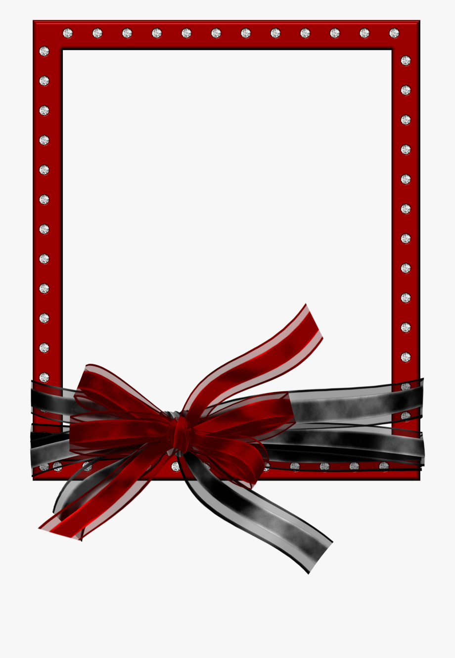 Red Png Photo Frame With Black And Red Bow - Black And Red ... png library