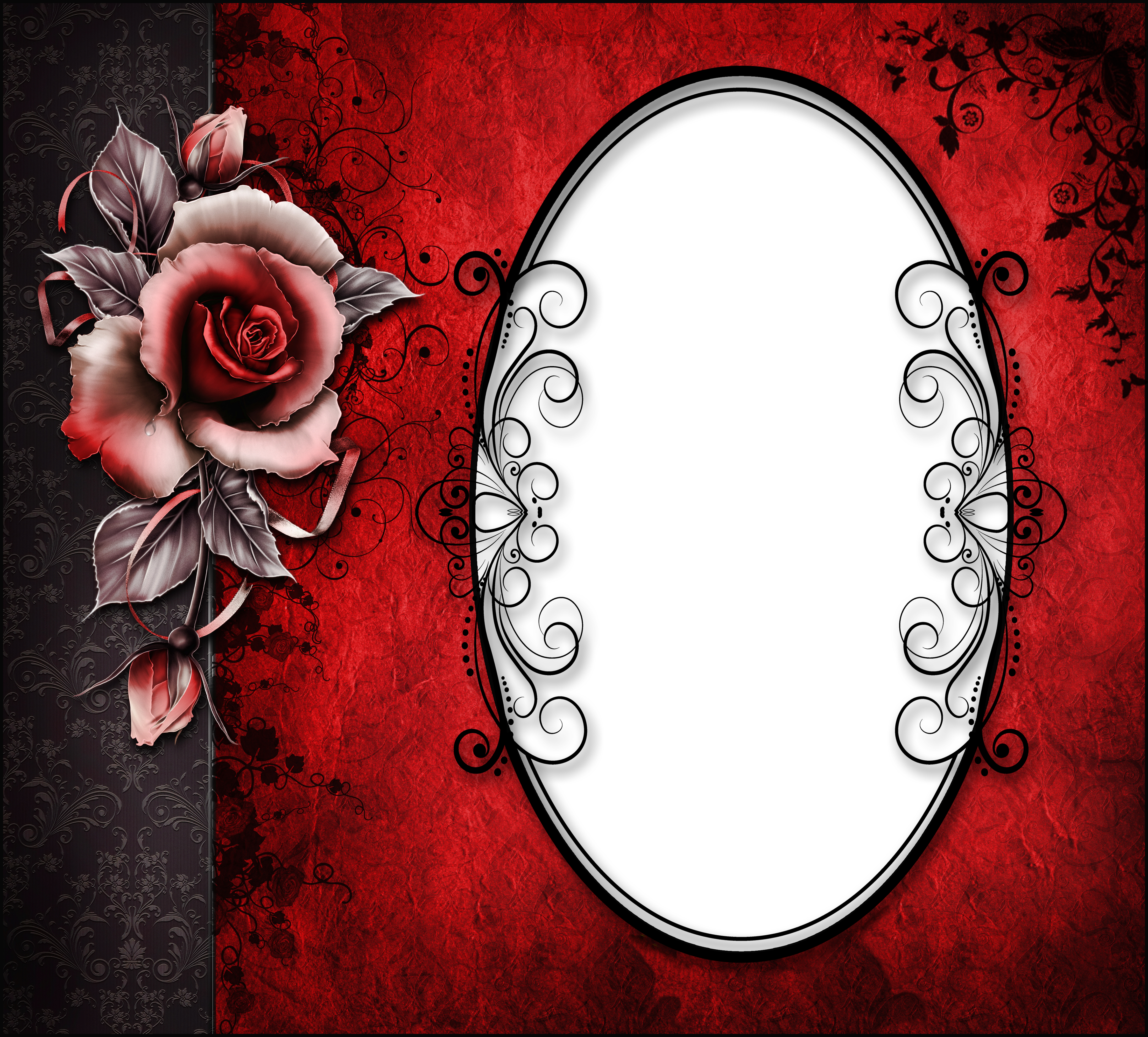 Red black frame clipart clipart royalty free library Red and Black Transparent Frame with Rose | Gallery ... clipart royalty free library